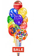 Custom Name & Age Birthday Prints Balloon Bouquet (12 Balloons) delivered in Las Vegas