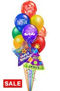 Custom Name Birthday Prints Balloon Bouquet (12 Balloons) delivered in Los Angeles