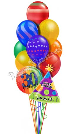Custom Name & Age  Airspray Graphics Balloon Bouquet (12 Balloons)