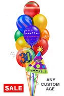 Custom Name & Age Airspray Graphics Balloon Bouquet (12 Balloons) delivered in Los Angeles