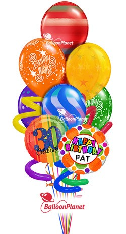 Jumbo Twisty Birthday Balloon BouquetCustom Name Rainbow Prints (9 Balloons)