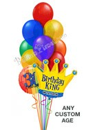 Custom Name & Age Plain Jewels King Balloon Bouquet (12 Balloons) delivered in San Diego