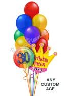 Custom Name & Age Plain Jewels Queen Balloon Bouquet (12 Balloons) delivered in Anchorage