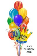 Custom Name & Age Agate Swirls King Balloon Bouquet (12 Balloons) delivered in Las Vegas