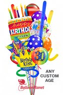 Custom Name & AgeCake & CrownKing Madness Balloon Bouquet (15 Balloons) delivered in San Antonio
