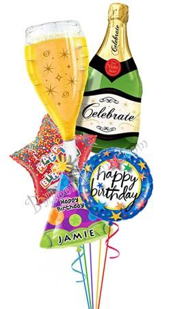Custom Name Bubbly Birthday Balloon Bouquet