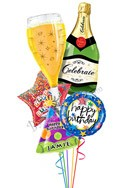 Custom Name Bubbly Birthday Balloon Bouquet (5 Balloons) delivered in Las Vegas