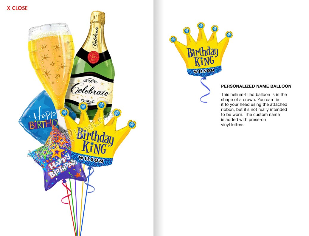 Balloon bouquet delivery balloon decorating 866 340 - Custom Name Bubbly Birthday King Balloon Bouquet 5 Balloons
