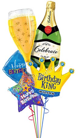 Custom Name Bubbly Birthday King Balloon Bouquet 5 Balloons Item BBA 30303 7595 USD More Details