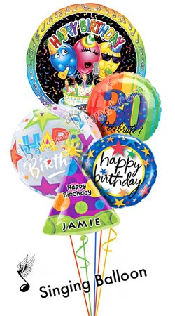 Custom Name & Age  Classic Birthday Song Balloon Bouquet (5 Balloons)