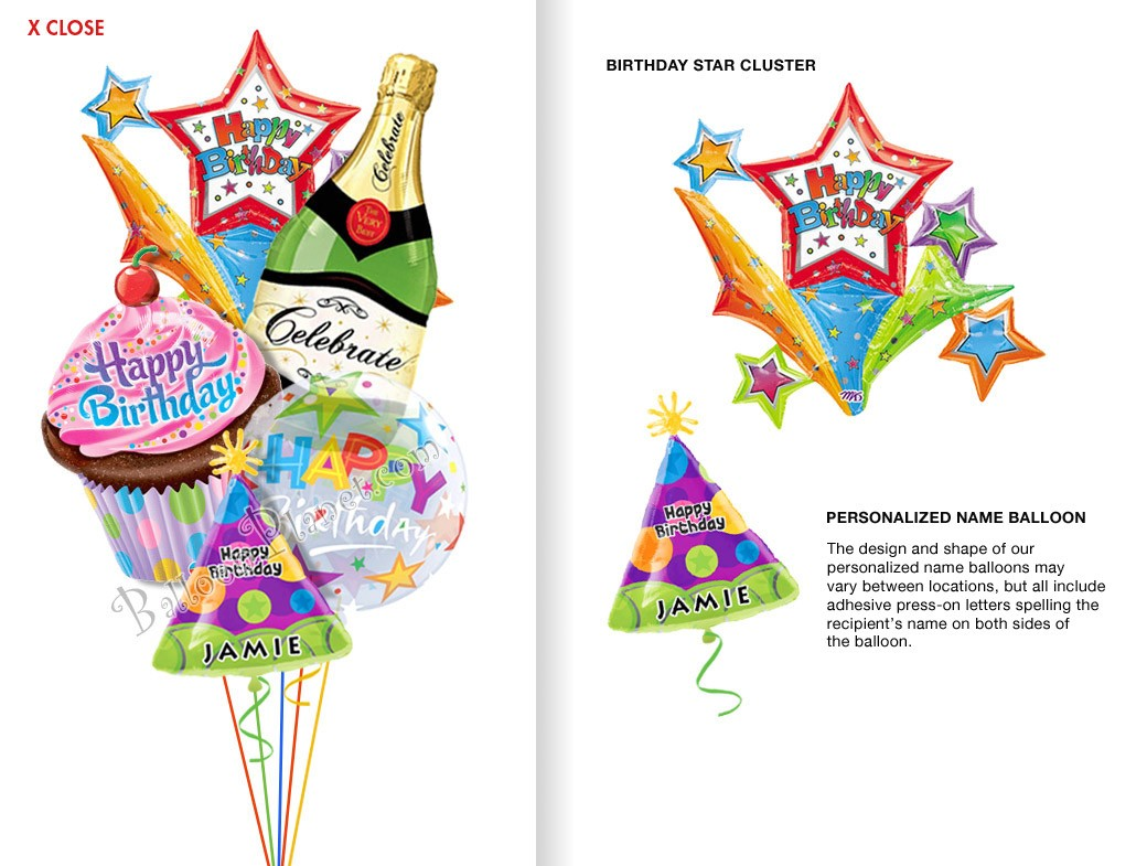 Balloon bouquet delivery balloon decorating 866 340 - Custom Name Bubbly Starburst Balloon Bouquet 5 Balloons