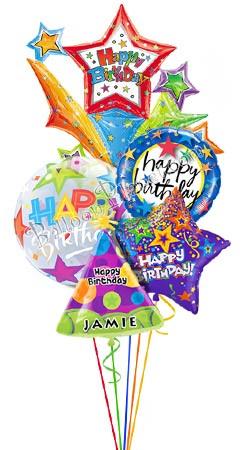 custom name starburst birthday balloon bouquet 5 balloons