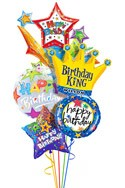Custom Name King Starburst Balloon Bouquet (5 Balloons) delivered in San Jose