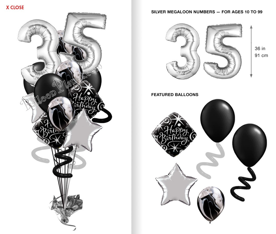 Balloon bouquet delivery balloon decorating 866 340 - Custom Age 3ft Silver Numbers Elegant Madness Balloon Bouquet 16 Balloons