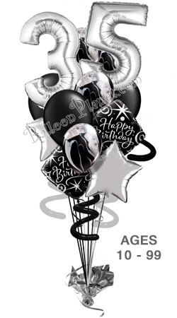 Custom Age 3ft Silver Numbers Elegant Madness Balloon Bouquet