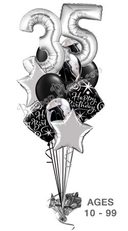 Custom Age Elegant Megaloon Balloon Bouquet 14 Balloons Item BBA 3092 HF 11595 USD More Details