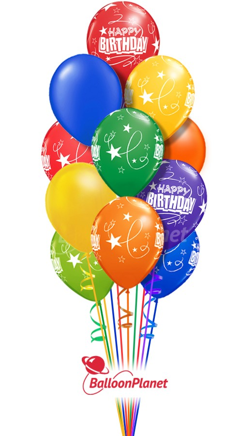 12 Balloon Salute  Birthday Balloon Bouquet (12 Balloons)