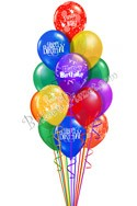 12 Balloon Salute Birthday Balloon Bouquet (12 Balloons) delivered in Los Angeles