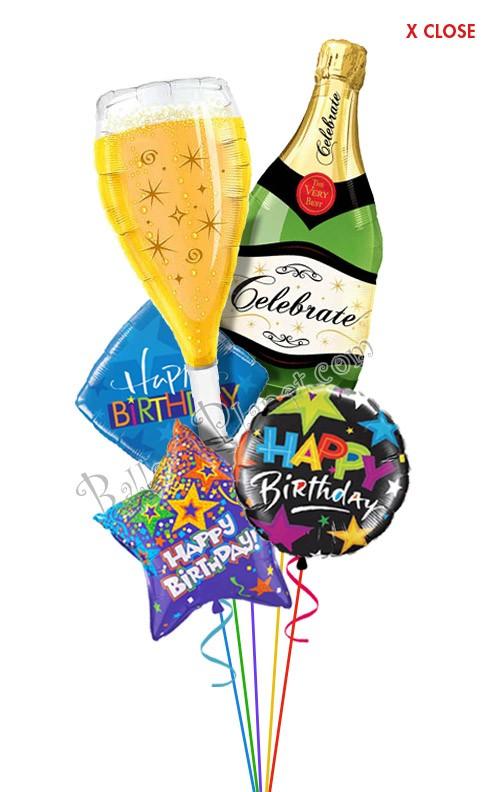 bubbly celebration birthday balloon bouquet  5 balloons