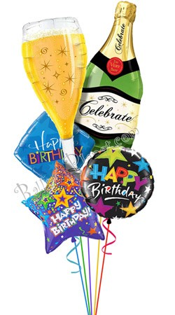 Bubbly Celebration Birthday Balloon Bouquet (5 Balloons)