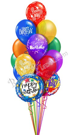 Classic Combo  Birthday Balloon Bouquet (15 Balloons)