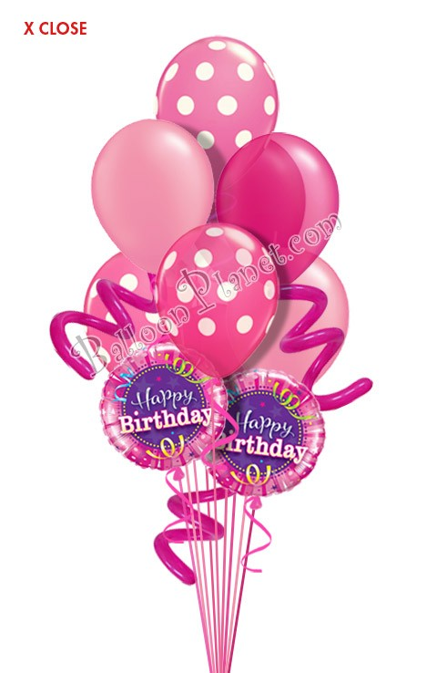 Jumbo Twisty Dots Pink Birthday Balloon Bouquet 9 Balloons Item BBA 5044 HF 7995 USD More Details
