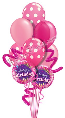 Jumbo Twisty Dots Pink Birthday Balloon Bouquet 9 Balloons
