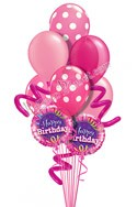 Jumbo Twisty Dots Pink Birthday Balloon Bouquet (9 Balloons) delivered in North Las Vegas