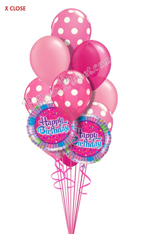 Dots In Pink Birthday Balloon Bouquet 14 Balloons