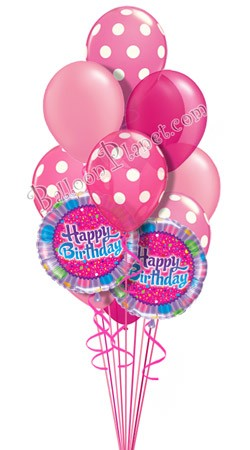 Dots in Pink  Birthday Balloon Bouquet (14 Balloons)