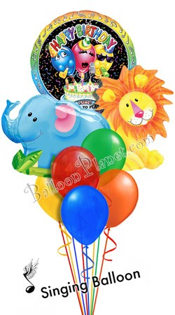 Jungle Pals Singing  Elephant & Lion Balloon Bouquet (8 Balloons)