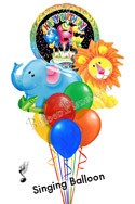 Jungle Pals Singing Elephant & Lion Balloon Bouquet (8 Balloons) delivered in Henderson