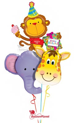 Jungle Pals Trio  Elephant, Monkey, & Giraffe Balloon Bouquet (4 Balloons)