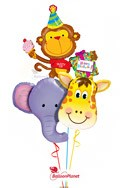 Jungle Pals Trio Elephant, Monkey, & Giraffe Balloon Bouquet (4 Balloons) delivered in Aurora