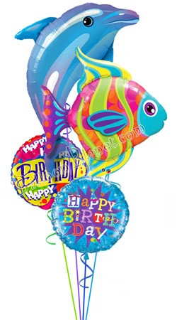 Ocean Friends  Dolphin & Fish Balloon Bouquet (4 Balloons)