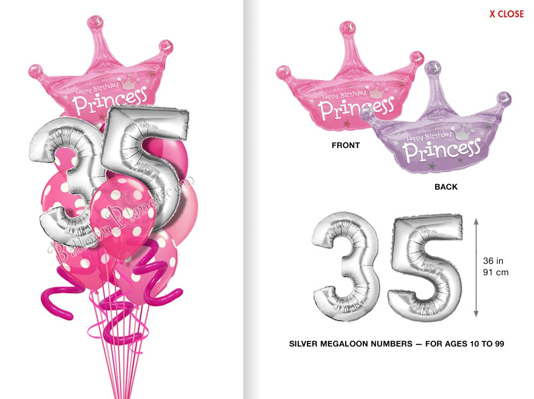 Balloon bouquet delivery balloon decorating 866 340 - Custom Age Princess Megaloon Balloon Bouquet 12 Balloons