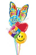 Butterfly Get Well Balloon Bouquet (5 Balloons) delivered in Aurora