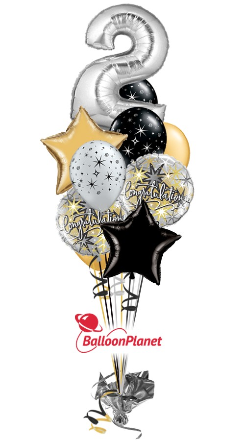 Single-Digit Any Number 1-9 Anniversary Balloon Bouquet (5 Mylars, 6 Latex))