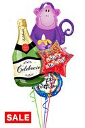 Champagne MonkeyBirthday Balloon Bouquet (4 Balloons) delivery in Nashville