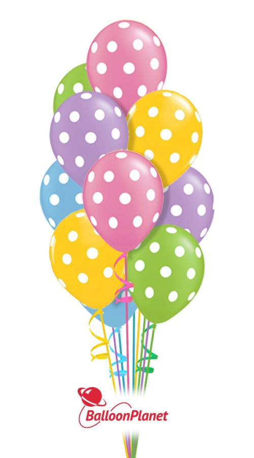 Pastel Polka Dots Just For Fun Balloon Bouquet 13