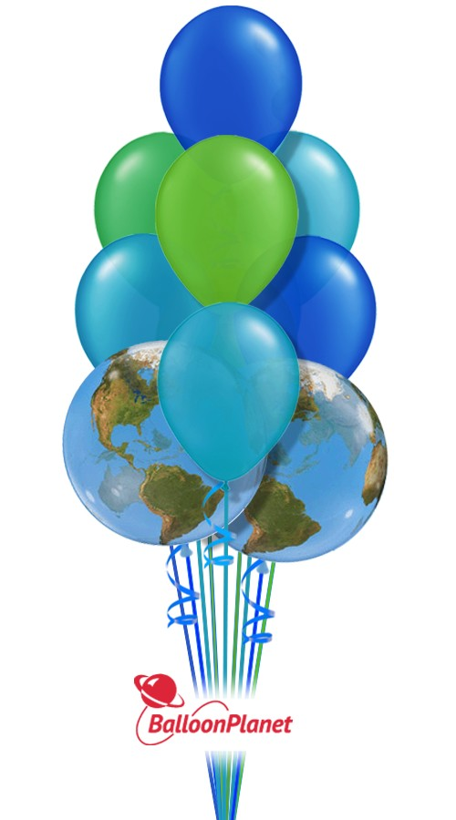 Earth Day Colors Balloon Bouquet (9 Balloons)