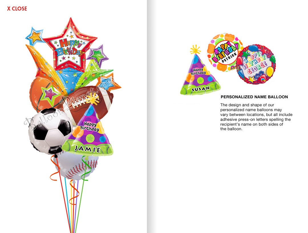 Balloon bouquet delivery balloon decorating 866 340 - Custom Name All Sports Birthday Balloon Bouquet 6 Balloons