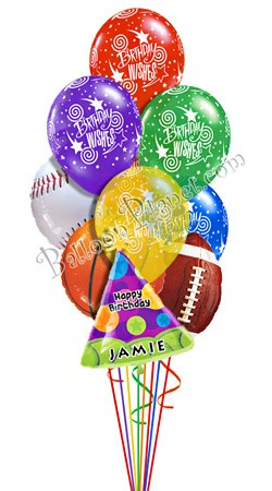 Custom Name Sports Birthday Balloon Bouquet 10 Balloons Item BBA 3032 HF 4995 USD More Details