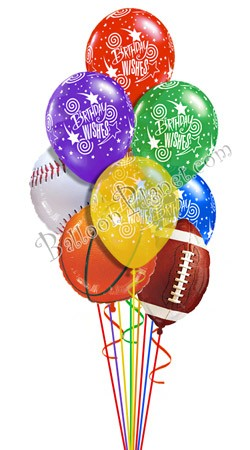Assorted Sports Happy Birthday Balloon Bouquet 9 Balloons