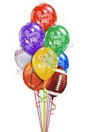 Assorted SportsHappy Birthday Balloon Bouquet (9 Balloons) delivery in Nashville