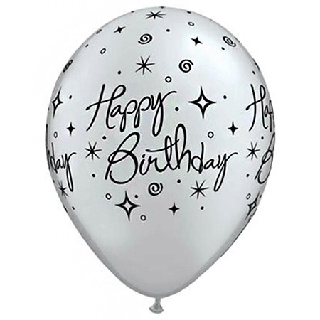 11in Birthday Balloon<br>Silver<br>Elegant Line