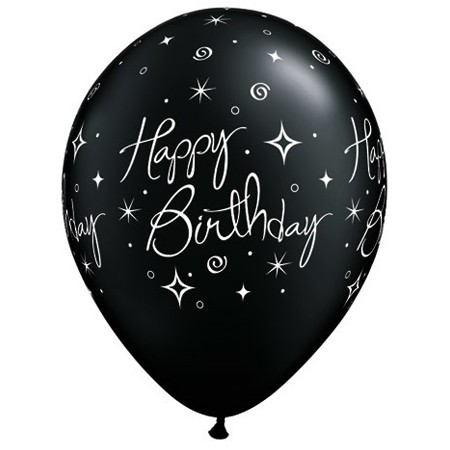 11in Birthday Balloon Black<br>Elegant Line