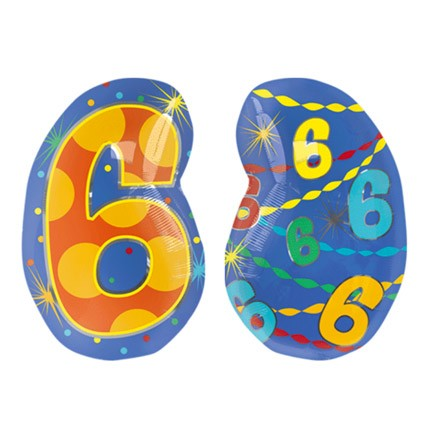 Number 6 Jr Shape Balloon
