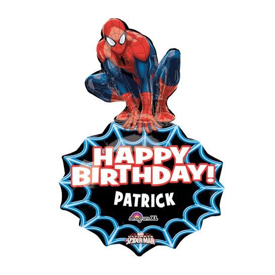Birthday Custom Name<br>Personalized Balloon<br>Spiderman Shape