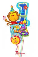 Personalized Boy1st BirthdayParty Monkey Balloon Bouquet (5 Balloons) delivery in Rochester